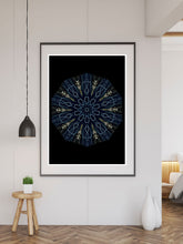 Load image into Gallery viewer, Asimov Kaleidoscope Print in a frame on a wall