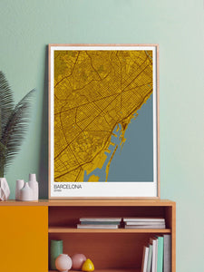 Barcelona City Map Wall Art in a frame on a shelf