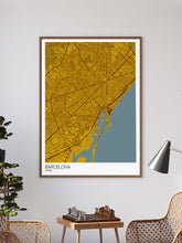 Load image into Gallery viewer, Barcelona City Map Wall Art in a frame on a wall