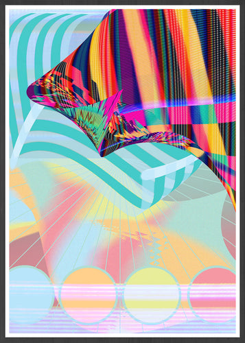 Beach Blanketed Glitch Art Print in a frame
