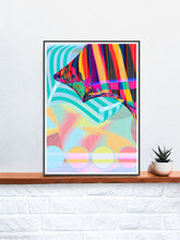 Load image into Gallery viewer, Beach Blanketed Glitch Art Print in a frame on a shelf