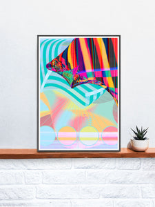 Beach Blanketed Glitch Art Print in a frame on a shelf
