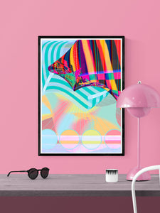 Beach Blanketed Glitch Art Print in a frame on a wall