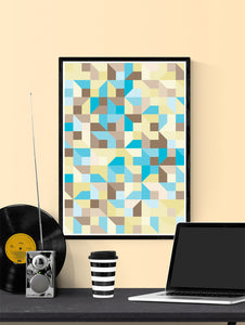 Beach Metric Abstract Art Print in a frame on a wall