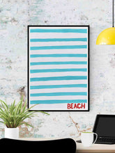 Load image into Gallery viewer, Beach Quirky Art Print in a frame on a wall