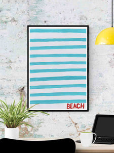 Beach Quirky Art Print in a frame on a wall