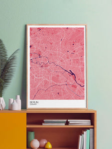 Berlin City Map Art Print in a frame on a shelf