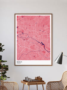 Berlin City Map Art Print in a frame on a wall
