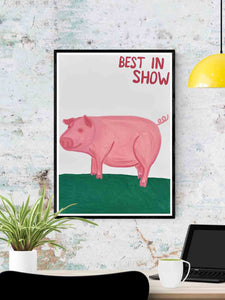 Best in Show Animal Art Print in a frame on a wall