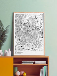 Birmingham UK Map Art in a frame on a shelf