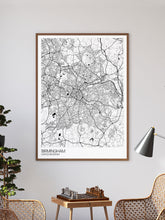 Load image into Gallery viewer, Birmingham UK Map Art in a frame on a wall