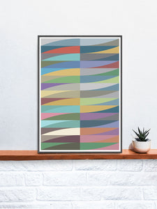 Blade and Waves Abstract Art Print in a frame on a shelf