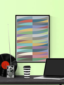 Blade and Waves Abstract Art Print in a frame on a wall