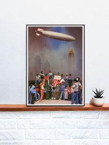 Breaker Boys Collage Art Print in a frame on a shelf