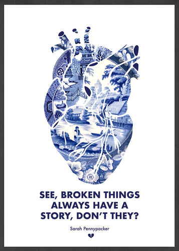 Broken Things Heart Print in a frame