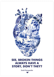 Broken Things Heart Print not in a frame