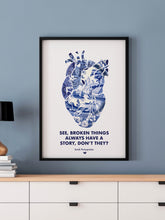 Load image into Gallery viewer, Broken Things Heart Print in a frame on a blue wall