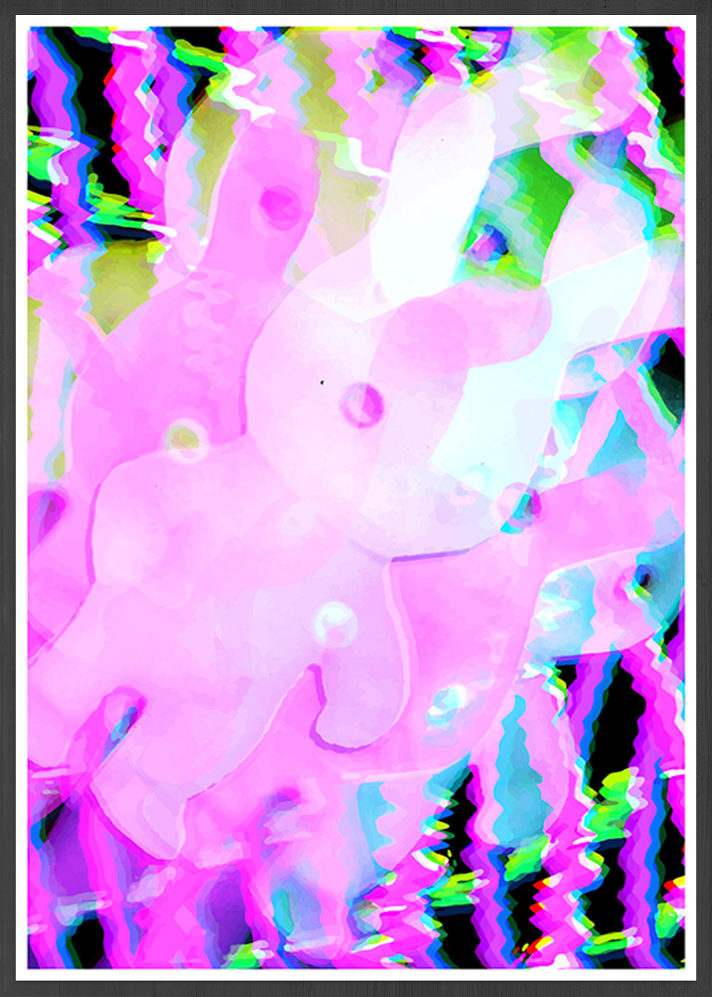 Bunny Pop Pink Abstract Print in a frame