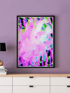 Bunny Pop Pink Abstract Print in a frame on a wall