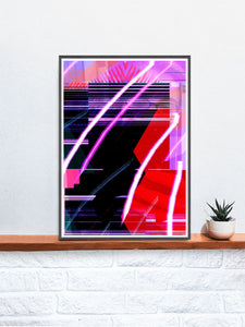 Clax Glitch Art Print on a shelf