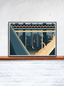 Camp Fire Digital Illustration Art Print in a frame on a shelf