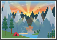 Load image into Gallery viewer, Camping Adventure Kids Art Print in frame