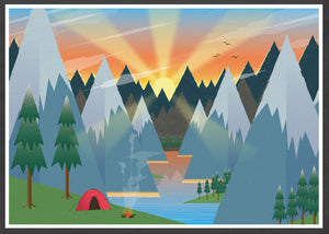Camping Adventure Kids Art Print in frame