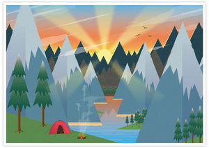 Camping Adventure Kids Art Print no frame
