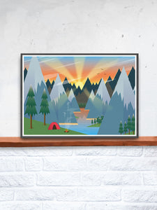 Camping Adventure Kids Art Print in a frame on a shelf