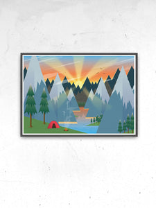 Camping Adventure Kids Art Print in a frame on a wall