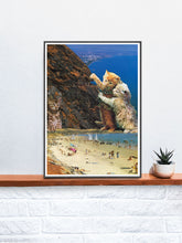 Load image into Gallery viewer, Catswatch Cat Print in a frame on a shelf