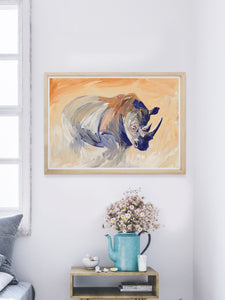 Charging Rhino Wildlife Wall Art in a smart room
