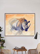 Load image into Gallery viewer, Charging Rhino Wildlife Wall Art in a traditional lounge