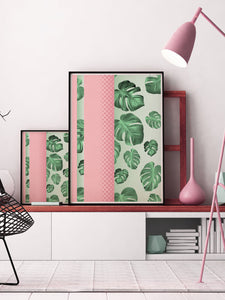 Stylish and contemporary Cheese Plant Botanical Art Prints in a room