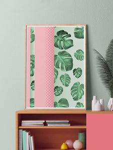 Cheese Plant Botanical Art Print stylishly placed on a sideboard