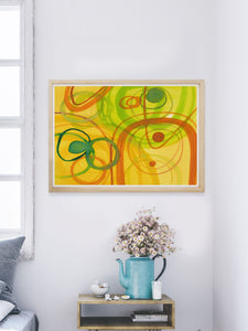 Chelle Yellow Abstract Art in a modern room
