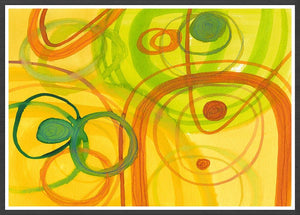 Chelle Yellow Abstract Art in a frame