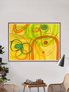 Chelle Yellow Abstract Art in a traditional room