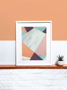 Cherry Blossom Geometric Art Print on a shelf