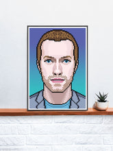 Load image into Gallery viewer, Chris Coldplay Art Print in a frame on a shelf