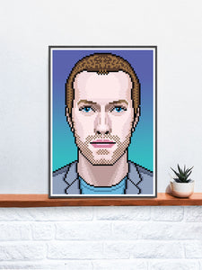 Chris Coldplay Art Print in a frame on a shelf