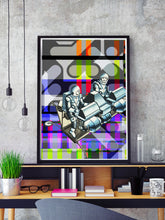 Load image into Gallery viewer, Crash Landing Collage Wall Art in a frame on a shelf