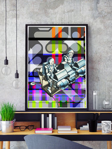 Crash Landing Collage Wall Art in a frame on a shelf