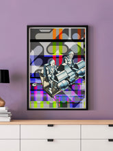 Load image into Gallery viewer, Crash Landing Collage Wall Art in a frame on a wall