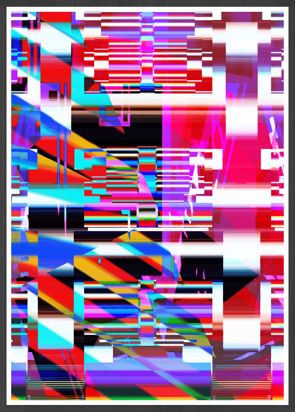Code Glitch Art Print in a frame