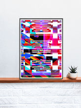 Load image into Gallery viewer, Code Glitch Art Print on a shelf