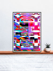 Code Glitch Art Print on a shelf