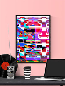 Code Glitch Art Print on a wall