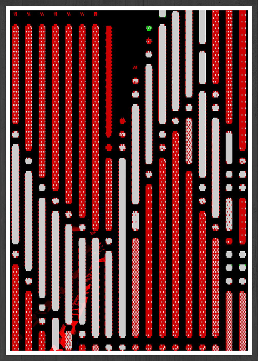 Code 2 Glitch Art Print in a frame