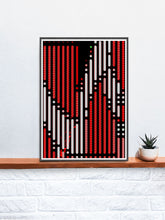 Load image into Gallery viewer, Code 2 Glitch Art Print on a shelf